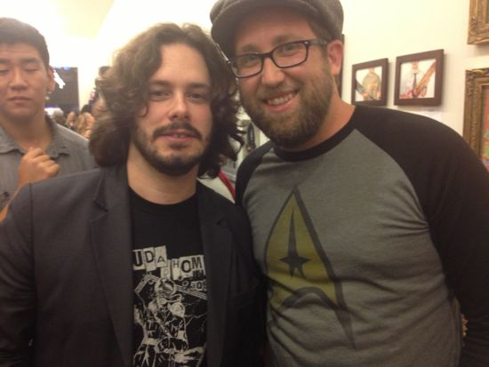 Edgar Wright with artist Joey Spiotto (Photo: Liz Ohanesian for L.A. Weekly)